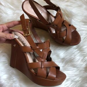 Guess Brown Leather Platform Wedges 7.5